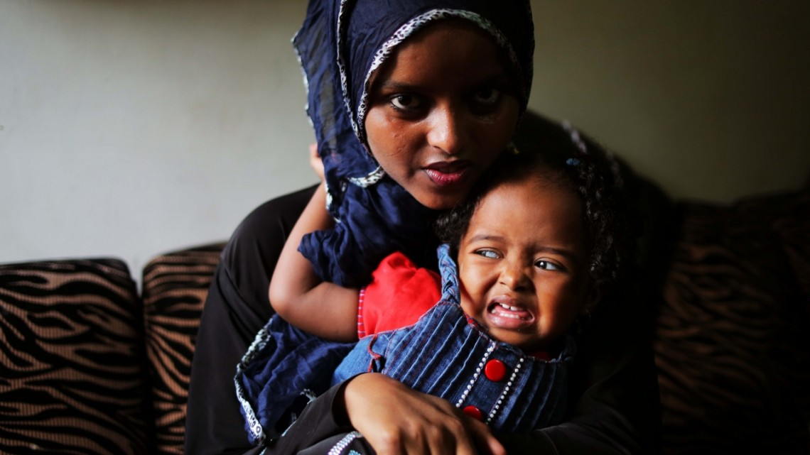 Kenya | Somali child actress Sirad Shiine with her aunt in Nairobi. DJG 2012.